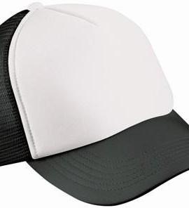 Trucker-Mesh-Baseball-Cap-in-Polyester-in-Weiss-Schwarz-0
