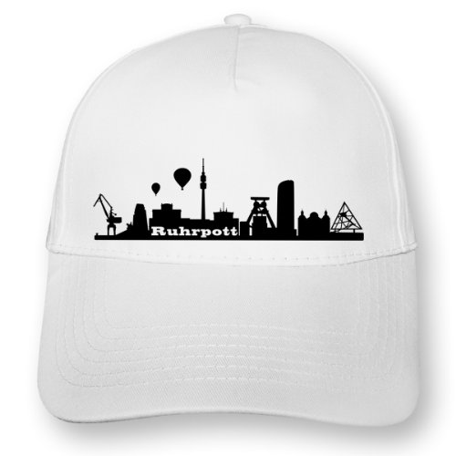 Kappe-Ruhrpott-Skyline-Baseball-Cap-OneSize-wei-schwarz-Myrtle-Beach-5-Panel-Cap-0