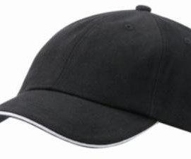 6-Panel-Raver-Bicolor-Sandwich-Baseball-Cap-in-Heavy-Brushed-Cotton-mit-Metallschnalle-zur-Grssenverstellung-in-16-Farbkombinationen-Einheitsgrsse-Schwarz-0